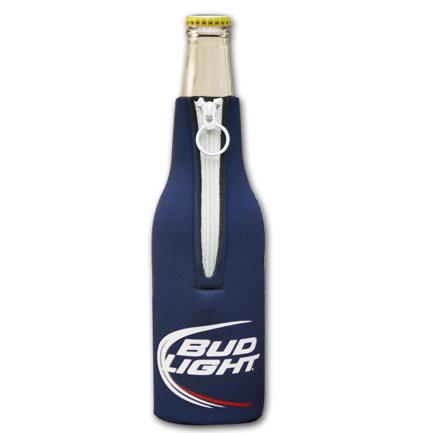 Bud Light Classic Logo Navy Zip-Up Bottle Koozie
