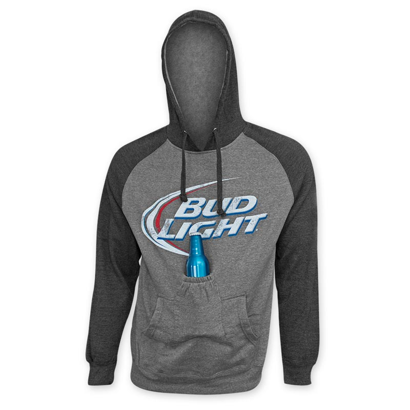 Bud Light Men S Grey Beer Pouch Raglan Sleeve Hoodie