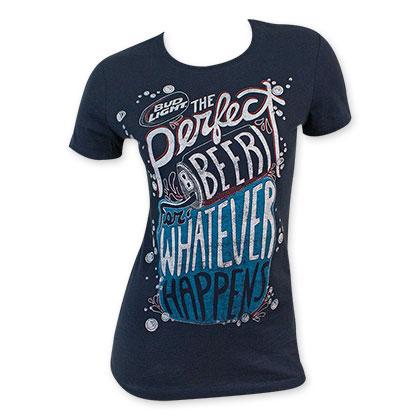 Bud Light Women's Navy Blue Whatever Happens T-Shirt