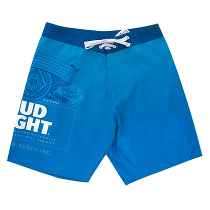 Bud Light Men's Solid Blue Board Shorts