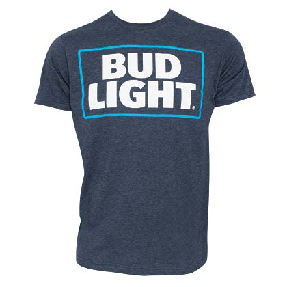Bud Light Basic Logo Heather Navy Blue Tee Shirt
