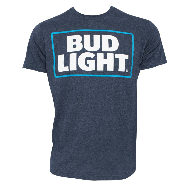Bud Light Basic Logo Heather Navy Blue Tee Shirt