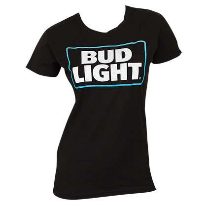 Bud Light Black Women's Beer Logo T-Shirt