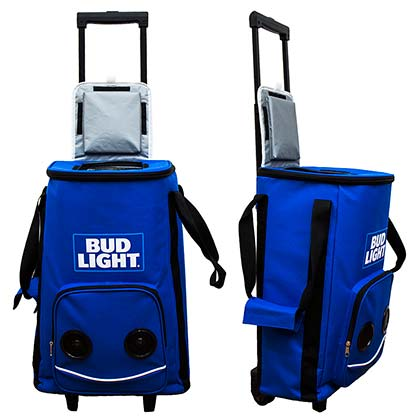 Bud Light Rolling Cooler With Bluetooth Speakers