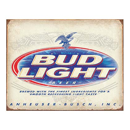 Bud Light Label Retro Tin Sign