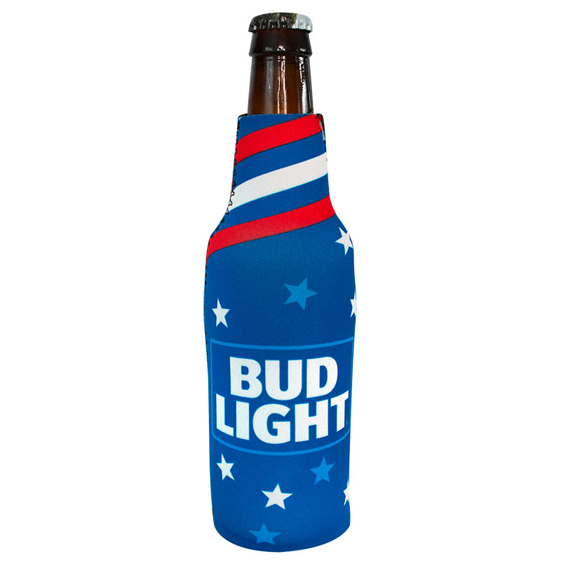 Bud Light Patriotic Red White and Blue Bottle Cooler