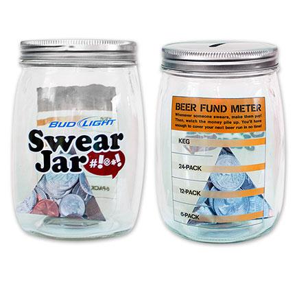 Bud Light Glass Piggy Bank - Swear Jar