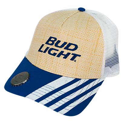 Bud Light Bottle Opener Straw Woven Curved Bill Hat