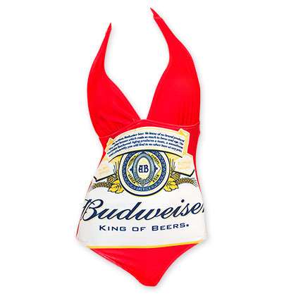 Budweiser Women's Red One Piece Logo Bikini