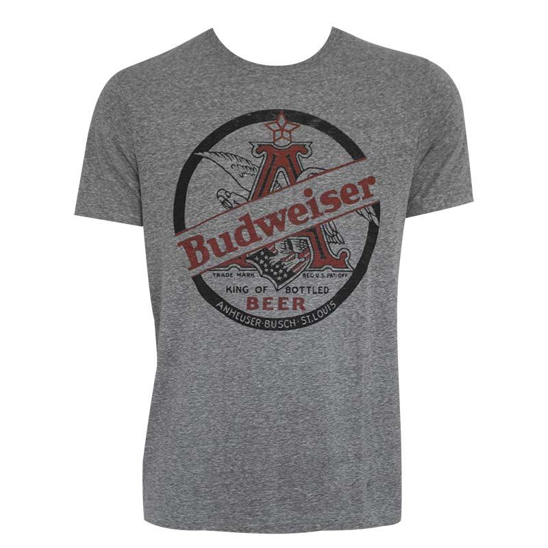 Budweiser King Of Beers Heather Grey Tee Shirt