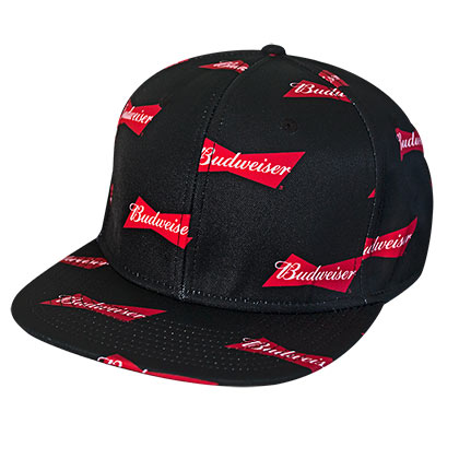 Budweiser All Over Bowtie Logo Black Snapback Hat