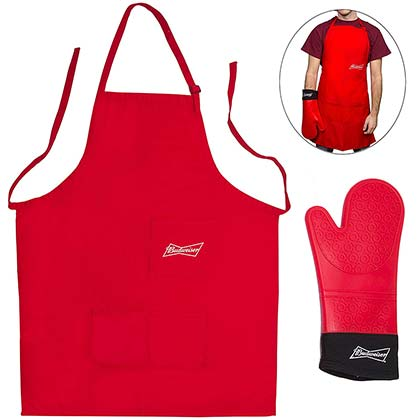 Budweiser Red Apron And Mitt Grilling Set