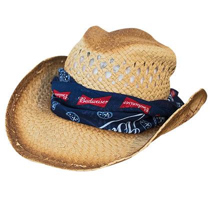 Budweiser Straw Bandana Cowboy Hat