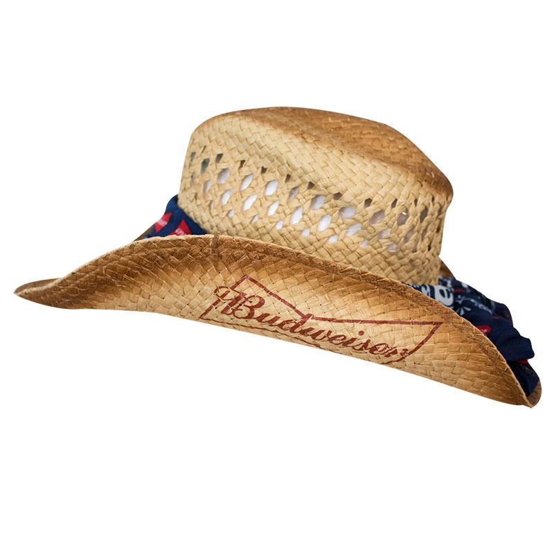 Budweiser Straw Bandana Cowboy Hat d75a267ac05