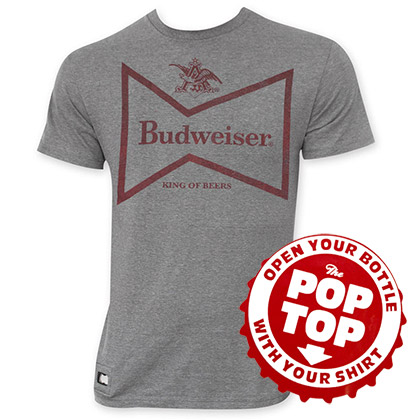 Budweiser Men's Gray Retro Bow Tie Pop Top Tee Shirt