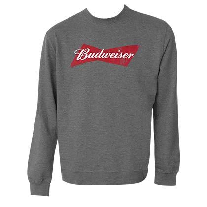 Budweiser Bowtie Logo Grey Crewneck Sweatshirt
