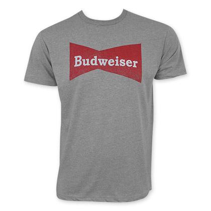 Budweiser Men's Gray Vintage Logo T-Shirt