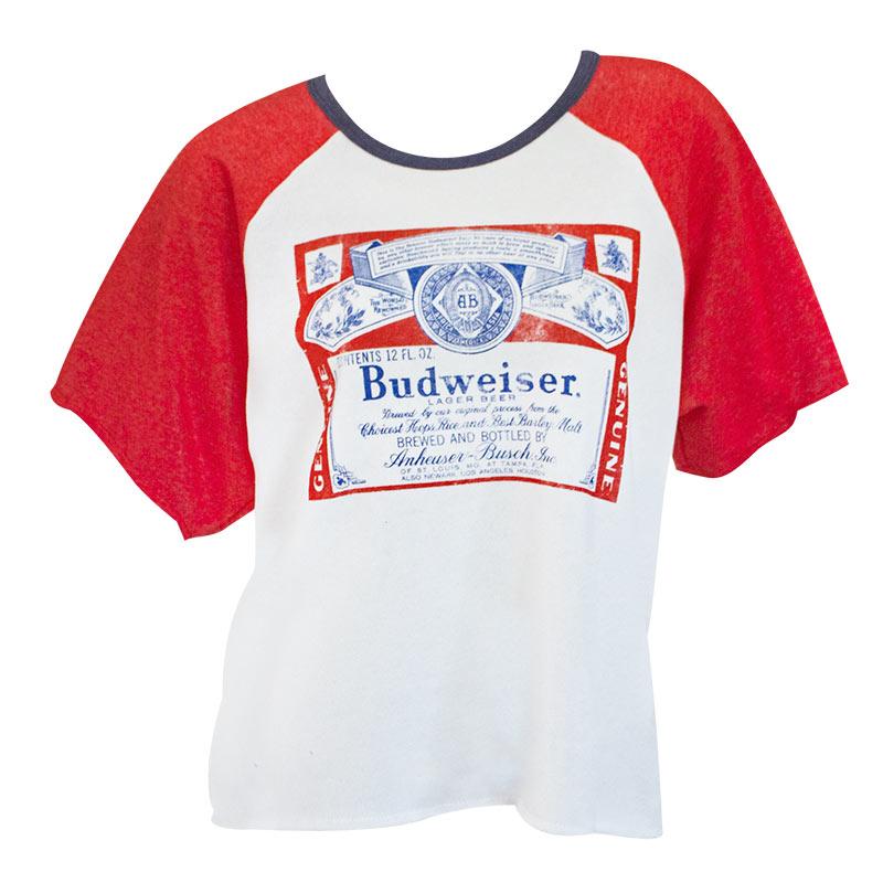 Budweiser Women's Fighter Oversized Cutoff Raglan Sweatshirt