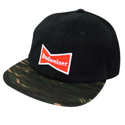 Budweiser Bowtie Logo Camo Brim Adjustable Hat