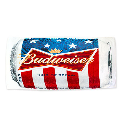 Budweiser American Flag Beer Can Beach Towel