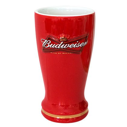 Budweiser Red Sculpted Ceramic Pilsner Glass