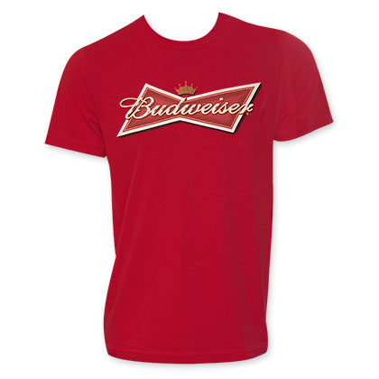 Budweiser Red Men's Classic Bow Tie Logo Tee Shirt