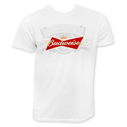Budweiser Men's White Beer Label T-Shirt