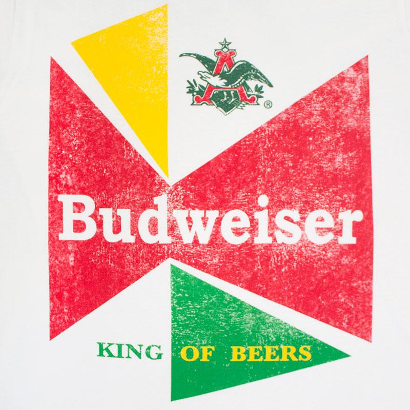 Budweiser Men's White Vintage King Of Beer Tee Shirt
