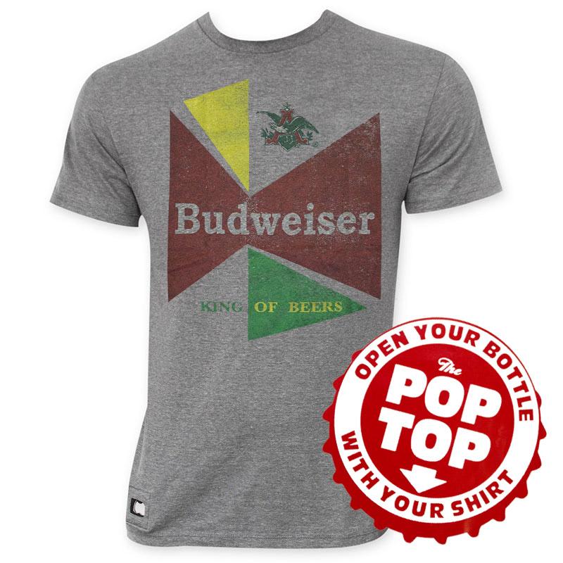 Budweiser 60's Pop Top Bottle Opener Retro Logo Tee Shirt
