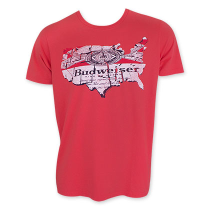 Budweiser Men's Red Junk Food USA Map Tee Shirt