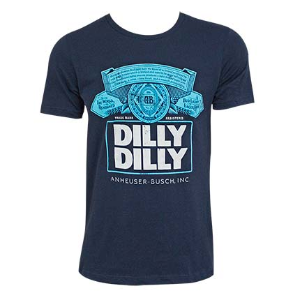 Bud Light Dilly Dilly Box Logo Navy Blue Tee Shirt