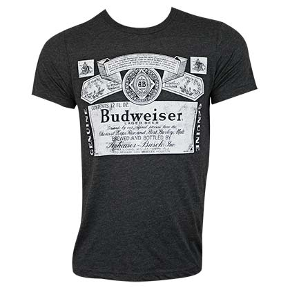Budweiser Men's Black Bottle Label T-Shirt