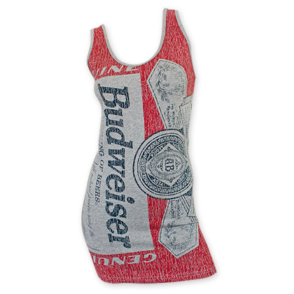 Budweiser Women's Gray Bottle Label Tank Top