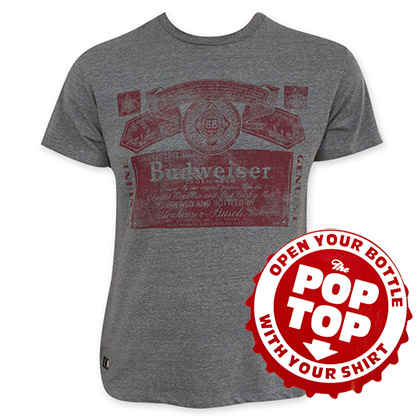 Budweiser Vintage Label Pop Top Bottle Opener Gray Tee Shirt