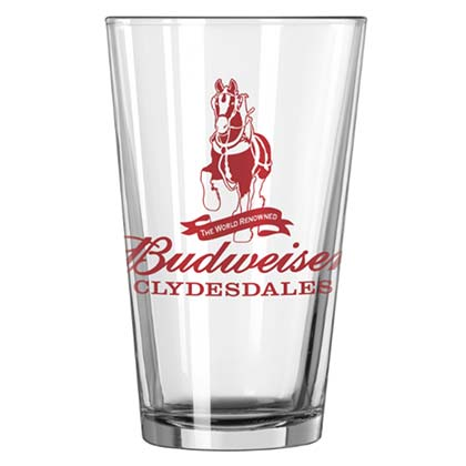 Budweiser Beer Clydesdales Pint Glass