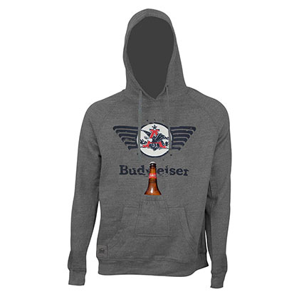 Budweiser Men's Grey Retro Eagle Logo Bottle Opener Beer Pouch Hoodie