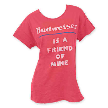 Junk Food Women's Red Budweiser Friend T-Shirt