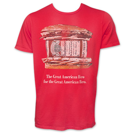 "Budweiser Junk Food Brand  ""Great American Hero"" TShirt"