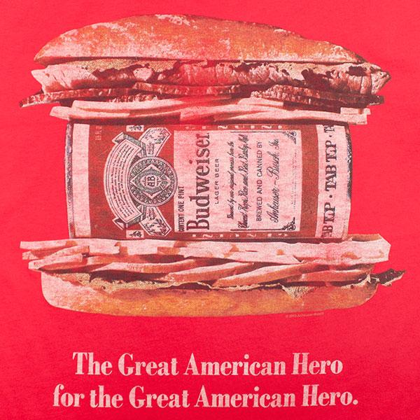 """Budweiser Junk Food Brand  """"Great American Hero"""" TShirt"""