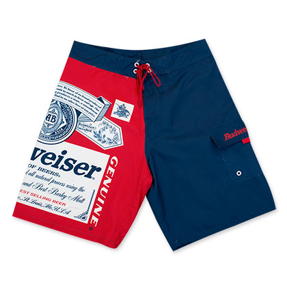 Budweiser Beer Label Red And Blue Board Shorts