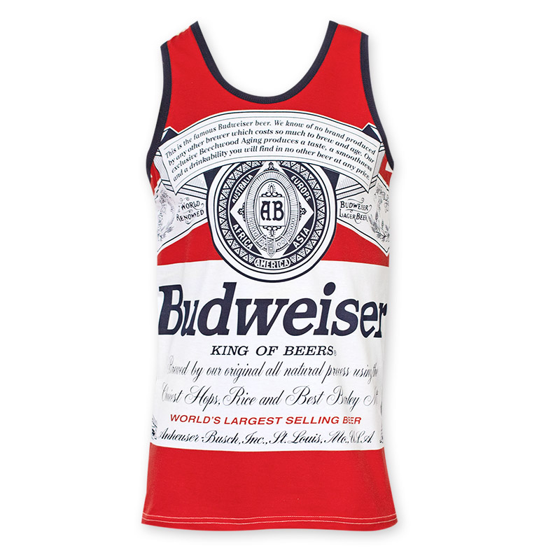 Budweiser Bottle Label White And Red Tank Top