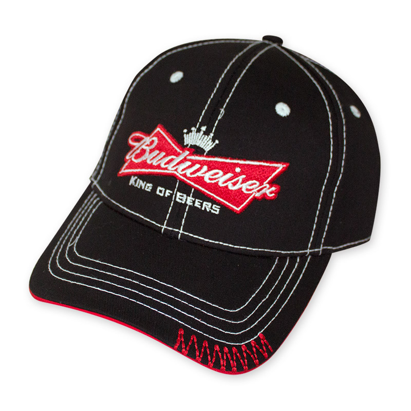 budweiser black crown bow tie logo hat
