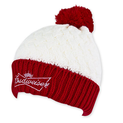 Budweiser Women's Red And White Beer Logo Beanie