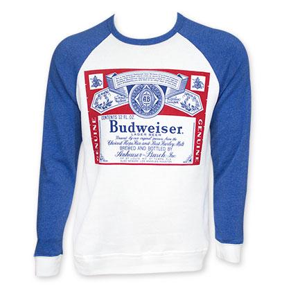 Budweiser Blue Raglan Sleeve Crew Neck Shirt