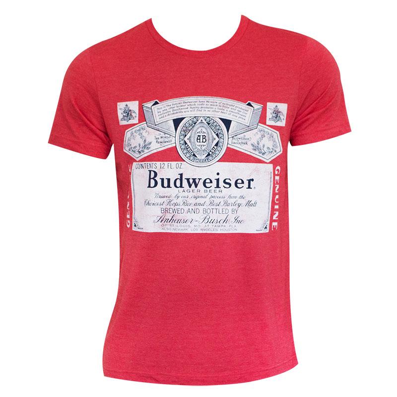 f3fe647e707eea Budweiser Logo Men s Heather Red T-Shirt