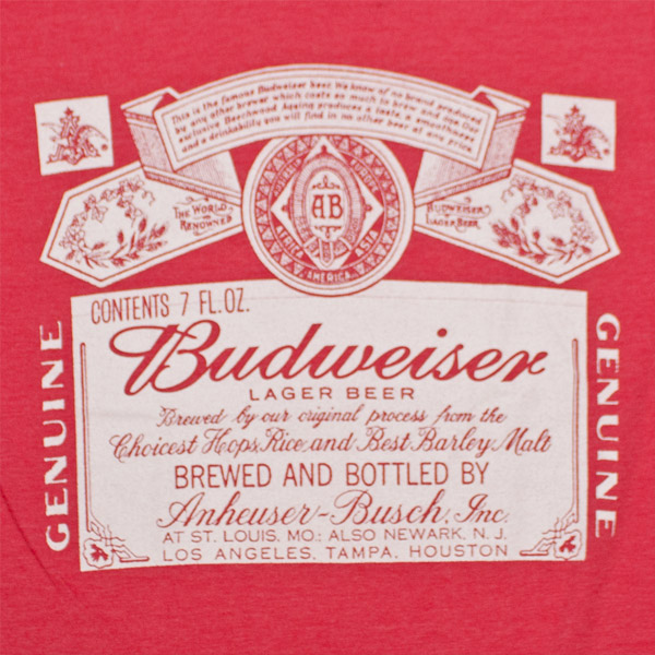Budweiser White Logo Red T Shirt