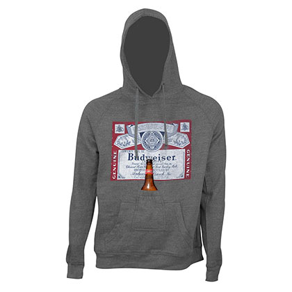 Budweiser Men's Grey Bottle Label Beer Pouch Hoodie