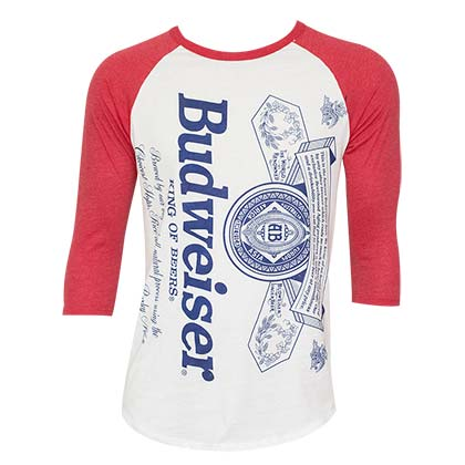Men's Budweiser Label Red Baseball Tee Shirt