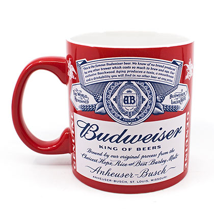 Budweiser Red And White 20 Ounce Coffee Mug