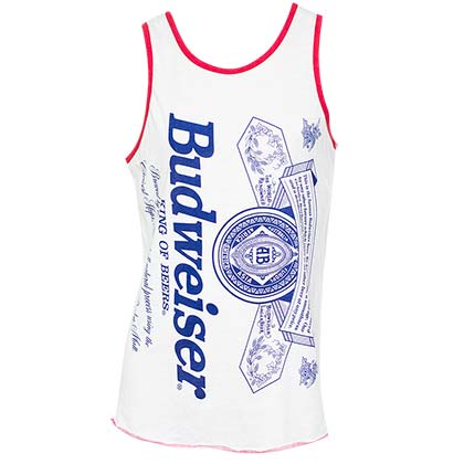 Men's Budweiser Beer Label White Tank Top